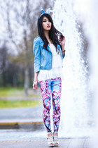 hot pink Bam Bam leggings - sky blue zip Sportsgirl jacket