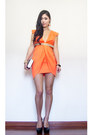 Carrot-orange-structured-dolly-girl-fashion-dress