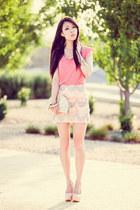 cream sequin mermaid MinkPink skirt - neutral clutch Forever New bag