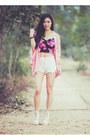 Light-pink-lookbookstore-jacket-white-crochet-trim-awwdore-shorts