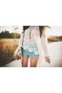 Ivory-lookbookstore-top-aquamarine-crochet-chicwish-shorts
