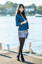 navy snakeskin supre dress - navy gold heel Sportsgirl shoes - navy supre blazer