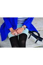 Blue-asos-coat-black-h-m-leggings-navy-vintage-bag
