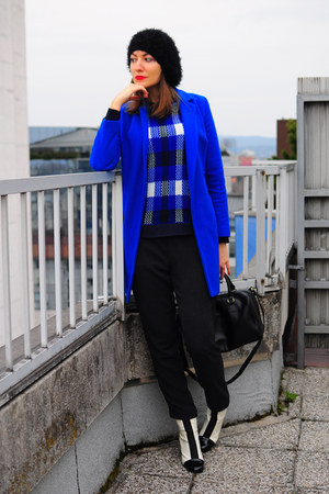 blue asos coat - white asos boots - black asos hat - blue asos sweater