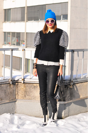black vintage via Style Carnage sweater - white asos boots