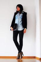 camel asos boots - dark gray asos hat - black Zara blazer