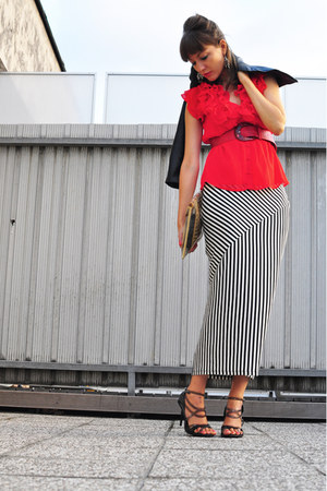 black H&M jacket - ruby red H&M belt - red H&M top - white H&M skirt