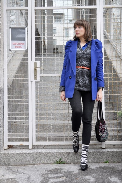 blue asos jacket - charcoal gray H&M sweater - black H&M leggings - white H&M so