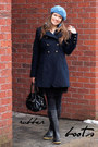 Black-rubber-second-hand-boots-navy-wool-dkny-coat