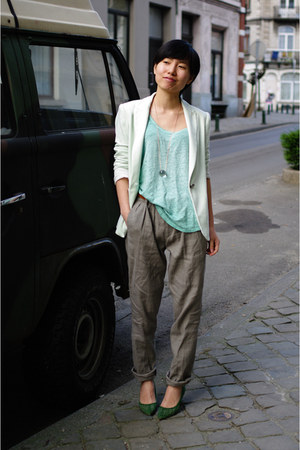 lime green Zara blazer - heather gray Zara pants