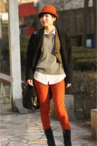 carrot orange united colors of benetton hat - black Zara jacket