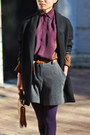 Black-zara-jacket-purple-two-tone-zara-shirt-gray-mango-shorts