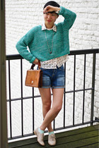 turquoise blue Urban Outfitters jumper - navy jeans - peach COS necklace