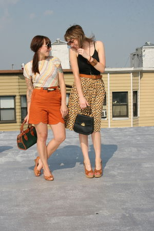 orange shorts - orange top - orange skirt