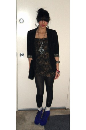 black Forever 21 blazer - black obey dress - black Forever 21 tights - eggshell