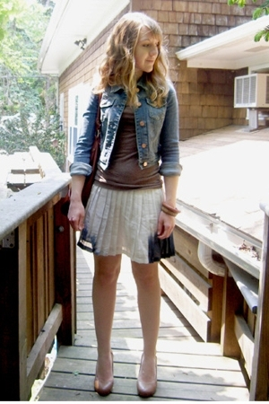 Target jacket - H&M t-shirt - American Eagle skirt - H&M shoes - H&M purse - for