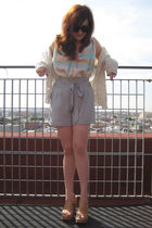 vintage cardigan - Whitley Kros top - Forever 21 shorts - Steve Madden shoes