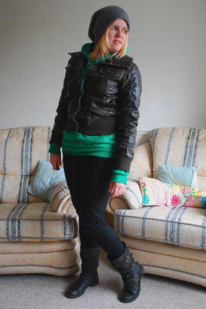 brown new look jacket - green American Apparel sweater - black Primark jeans - b