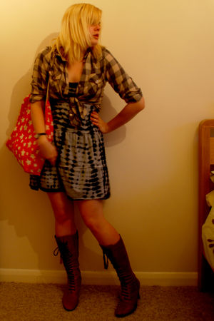 gray asos shirt - black AWear dress - brown Clarks boots - red Cath Kidston purs