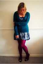green Primark cardigan - black AWear dress - purple asos tights - black Primark