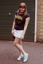 black Ebay t-shirt - blue Converse shoes - white from a shop in Croatia skirt -