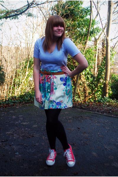 American Apparel t-shirt - floral River Island skirt - Primark belt - Converse s
