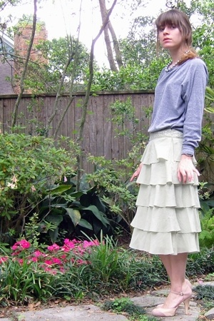 American Apparel top - Anthropologie skirt - go jane shoes - unknown necklace