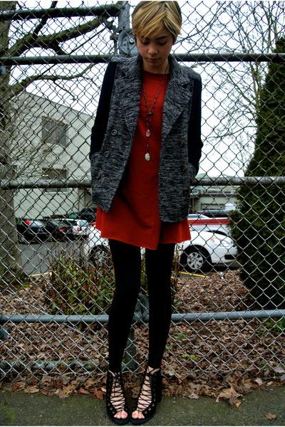 black knit pea coat Nordstrom jacket - black free people shoes