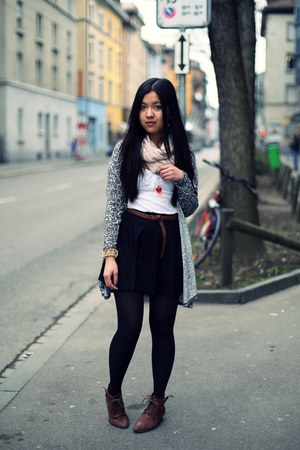 dark brown retro H&M boots - silver leopard H&M cardigan