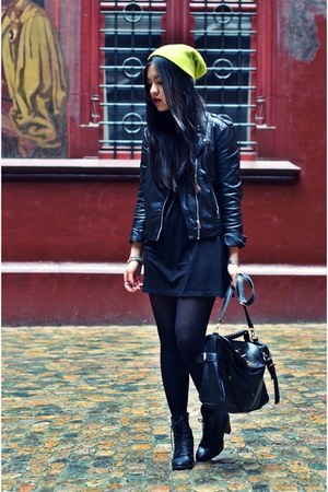 black H&amp;M dress - yellow neon beanie H&amp;M hat - black leather biker H&amp;M jacket