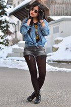 blue denim jeans H&M jacket - black H&M shirt - gray vintage jeans Zara shorts