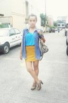 blue denim Tommy Hilfiger vest - dark brown chunky heels Capital Vices shoes