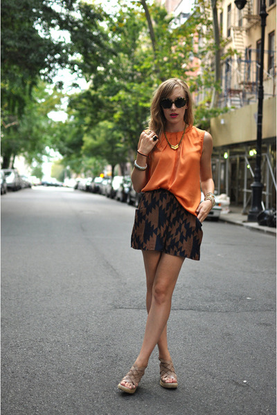 brown Hallelu shorts - black Warby Parker sunglasses - orange Zara blouse