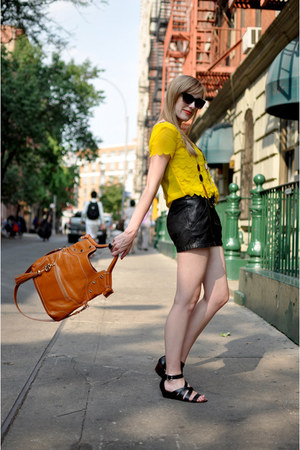 yellow H&amp;M blouse - black leather pants Urban Outfitters shorts