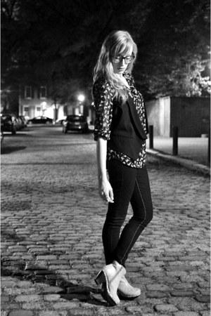 black Zara blouse - tan BC boots - blue James Jeans jeans - black Zara vest