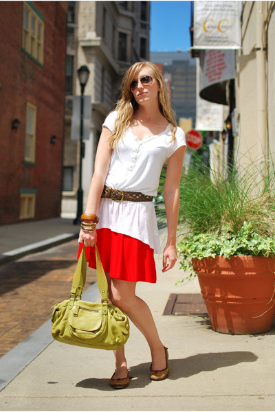 red H&M skirt - white H&M shirt - green Anthropologie purse