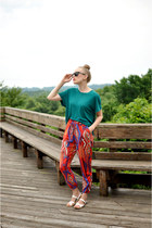 red Zara pants - turquoise blue Zara top - white Zara sandals
