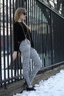 Black-forever21-shirt-heather-gray-madewell-pants-black-oaknyc-wedges-gold