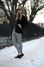 Black-forever21-shirt-black-oaknyc-wedges-heather-gray-madewell-pants-gold