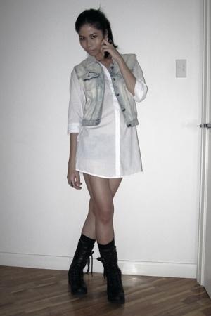 cotton on shirt - thrifted vest - 109 Shibuya Tokyo boots