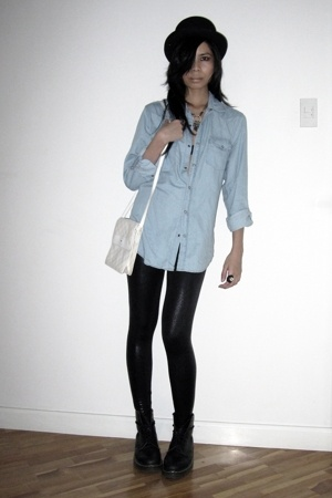 Topshop shirt - American Apparel leggings - doc martens boots - from Huntington