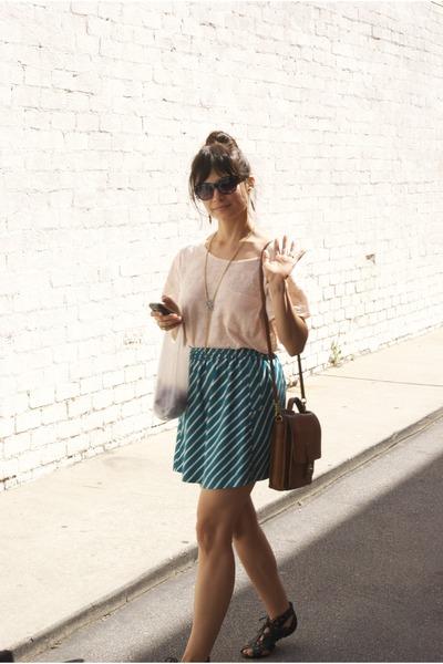 vintage Coach bag - Forever21 skirt - Forever21 t-shirt - Joie sandals