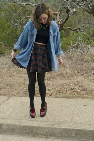 brick red flatform asos shoes - sky blue vintage shirt