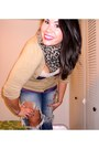Destroyed-jeans-charlotte-russe-scarf-beige-charlotte-russe-cardigan