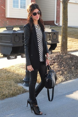 BCBG blazer - BCBG leggings - BCBG top - Betsey Johnson accessories