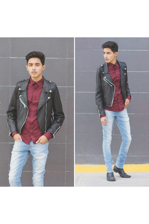 black romwe jacket - black vintage boots - ruby red c&a shirt