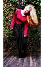 Hot-pink-knit-goodwill-sweater-mustard-leather-goodwill-vest