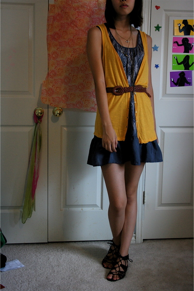 Macys vest - forever 21 dress - forever 21 necklace - Target shoes