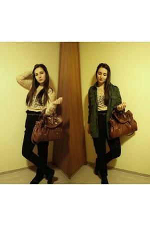 khaki H&M coat - lace H&M shirt - Chapnlle bag - Zara pants