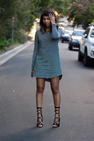 black lace up Windsor Smith heels - blue striped minpink dress